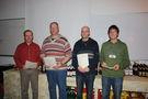 Helfer mit Dienstjubiläum 2009: v.l.n.r Axel Gülzow (30), Hans-Joachim Sakowski (30), Thomas Puls (25) und Niklas Kruck (10)